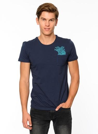 Baskılı Tişört-Mavi
